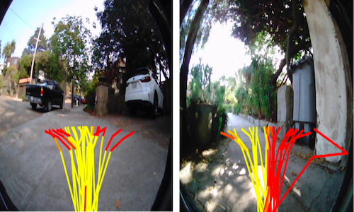 Side-by-side photos showing LaND path predictions.